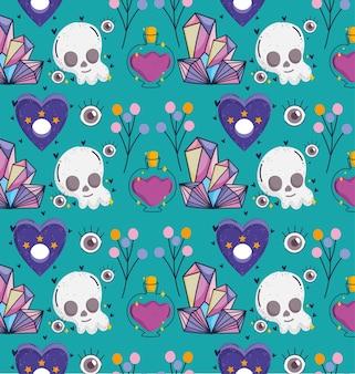 마법의 두개골 석영 원활한 패턴