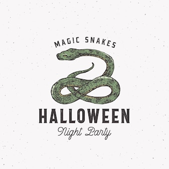 ヘビと魔法のヘビハロウィーンナイトパーティーラベルテンプレート