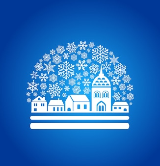 Magic snow globe with a town outline and snowflakes. christmas  illustration