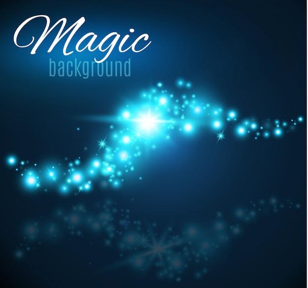 마법의 공간. 요정 가루. 무한대. 추상 우주 배경입니다. 파란색 배경과 빛나는 별.