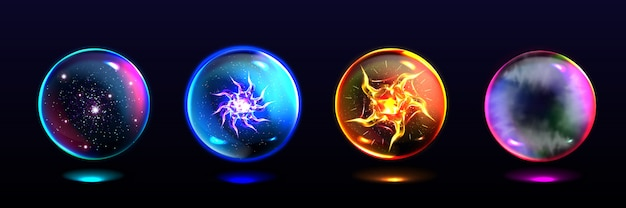 Magic spheres, crystal balls with lightning, energy burst, stars and mystical fog inside. realistic set of glass globes, glowing orbs for magician and fortune teller