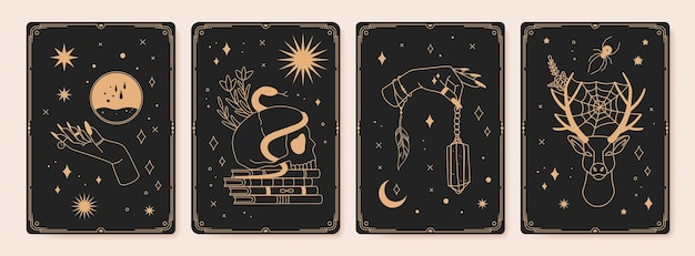 Magic spiritual tarot cards with mystic occult symbols