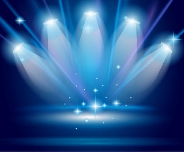 Magic spotlights with blue rays
