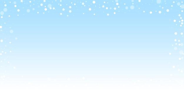 마법의 별 무작위 크리스마스 배경입니다. 겨울 하늘 배경에 미묘한 비행 눈 조각과 별. 멋진 겨울 은색 눈송이 오버레이 템플릿입니다. 최적의 벡터 일러스트 레이 션.
