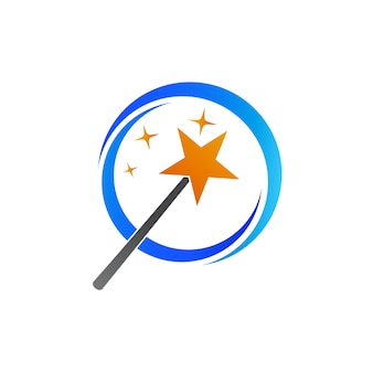 Magic stick with star illustration logo template