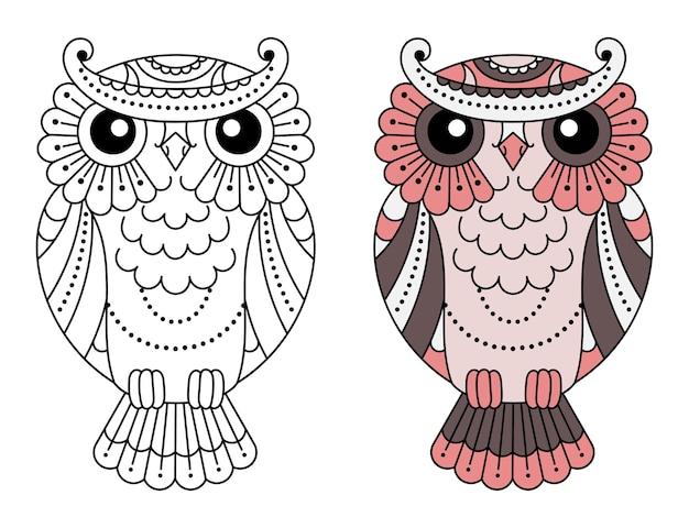 Magic stylized zentangle owl, doodle illustration for coloring. decorative wild bird.