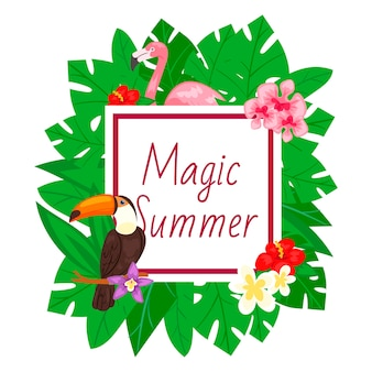 Magic summer frame with leaves