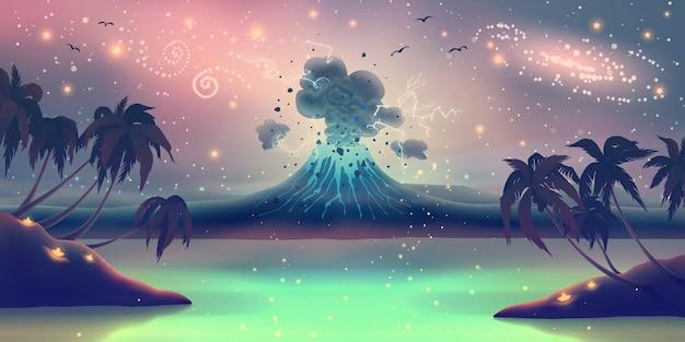 푸른 화산 분화와 환상의 풍경을 통해 마법의 여름 야자수 실루엣.
