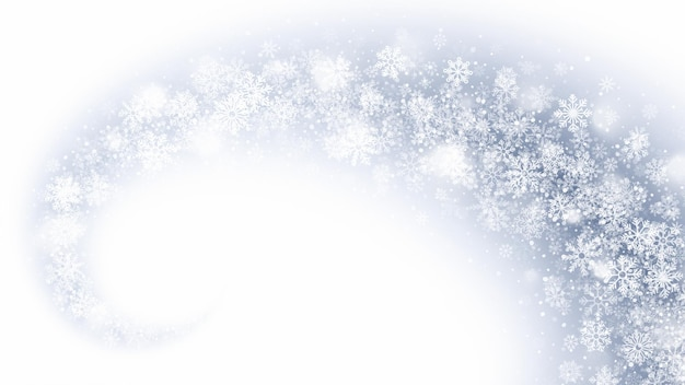 Magic swirling snowflakes and lights overlay on light blue background