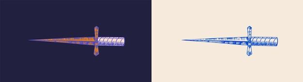 魔法の剣の短剣または刃の手描きのスケッチ線