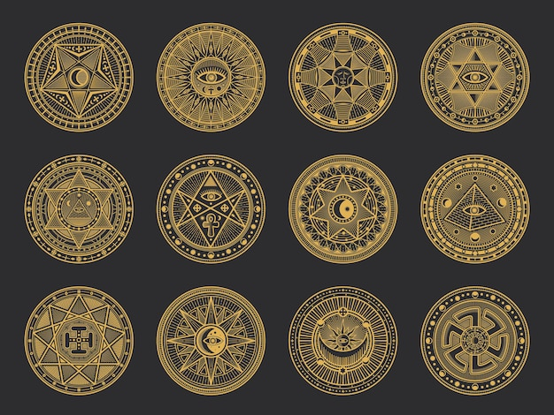 Magic symbols with alchemy and occult science, esoteric religion and astrology