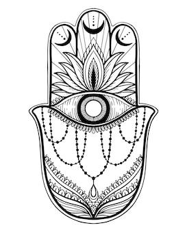 Magic talisman hamsa religion asian. black color graphic in white background .tattoo motif.