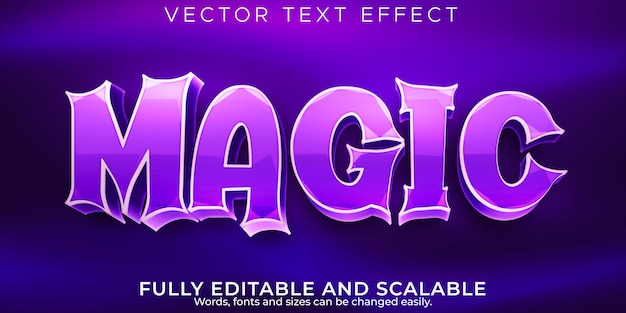 Magic text effect, editable witch and cartoon text style
