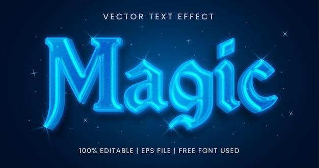 Волшебный текст, светящийся синий редактируемый стиль текстового эффекта