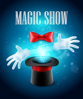 Magic trick, performance, circus, show concept.  illustration