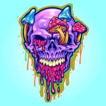 Magic trippy skull mushroom психоделические векторные иллюстрации для вашей работы логотип, футболка с изображением талисмана, наклейки и дизайн этикеток, плакат, поздравительные открытки, рекламирующие бизнес-компанию или бренды.