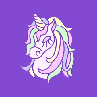 紫色の背景に魔法のユニコーンの頭のアイコン