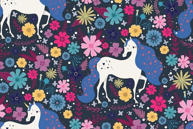 Magic unicorn surrounded by beautiful flowers