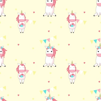 Magic unicorn vector seamless pattern