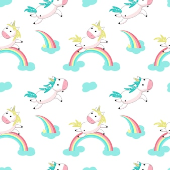 Magic unicorn with rainbow vector seamless pattern