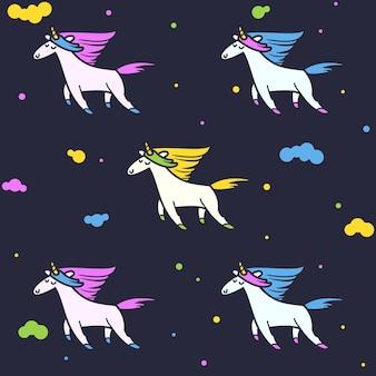 Magic unicorns, seamless pattern