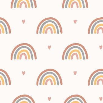 Magic vector seamless pattern. hand drawn boho nursery rainbow illustration. cute design for baby shower, kids clothes print, textile, digital paper wrapping, wallpaper.