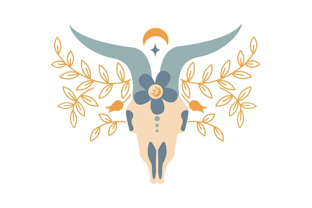Волшебный винтажный цветной череп барана с цветком, ветвью листьев, луной, звездой, изолированной на белом фоне. векторная иллюстрация плоский. богемный дизайн для племенного дизайна, приглашения, паутина, текстиль, обои