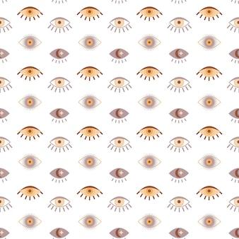 Magic vintage seamless pattern  boho eye with moon star isolated on white background