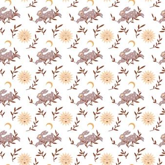 白い背景で隔離の月の星の葉と魔法のヴィンテージシームレスパターン自由奔放に生きるウサギ