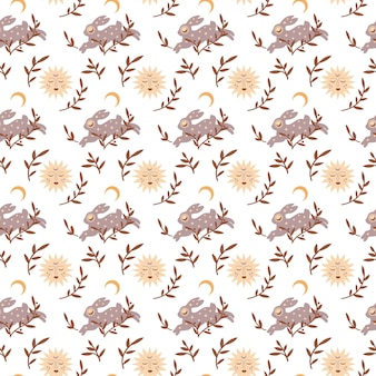 Magic vintage seamless pattern  boho rabbit with moon star leaves isolated on white background
