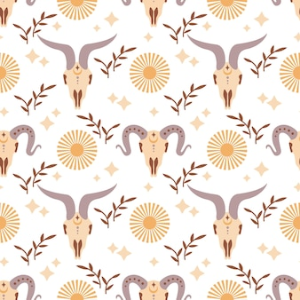 Magic vintage seamless pattern  boho ram skull with moon star isolated on white background