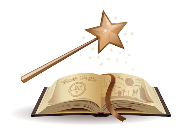 마술 지팡이와 흑 마술에 관한 교과서. 책 공개 시험. 전래 동화. 아이들을위한 무서운 이야기. 삽화