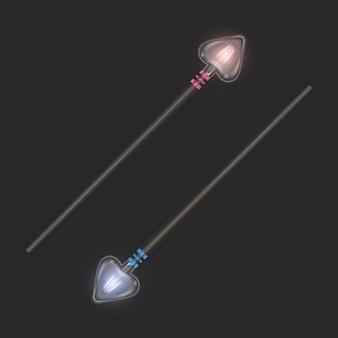 Волшебная палочка. красивые световые эффекты с волшебной блестящей сверкающей текстурой