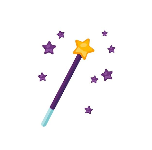 Волшебная палочка плоская векторная иллюстрация. снаряжение чародея, изолированные на белом фоне. волшебная палочка со звездами, волшебный аксессуар. фантастический выставочный экспонат. чары, заклинание, атрибут волшебства.
