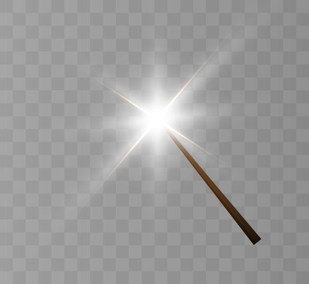 Волшебная палочка. иллюстрация. изолированные на черном прозрачном фоне.