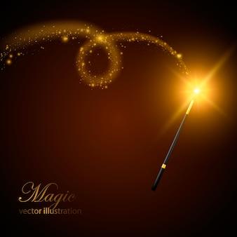 魔法の杖。暗い背景に分離
