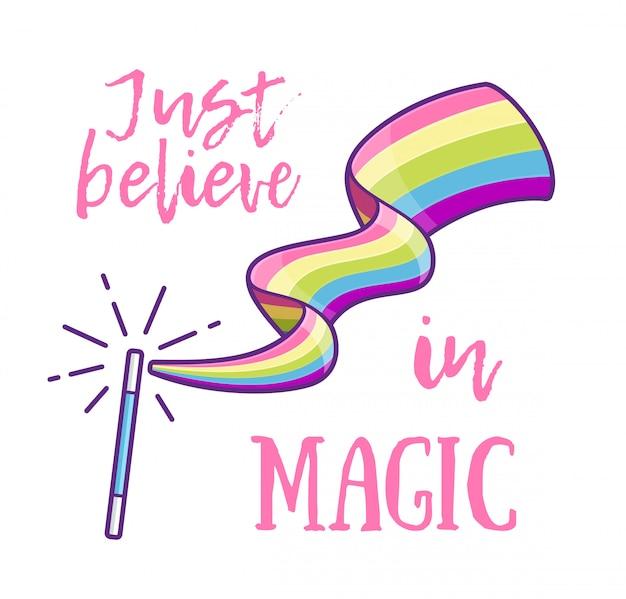 Magic wand making a rainbow. vector illustration