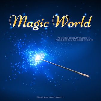 마술 지팡이 미스터리 배경. 마술 세계 배너, 마술 지팡이와 성능 트릭