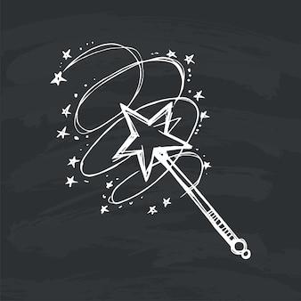Волшебная палочка на черном фоне