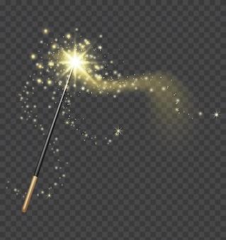 魔法の杖。金色のきらめきトレイルが付いたリアルなおとぎ話のスティック。ファンタジーキラキラと輝きの星。妖精の杖と魔法の光ベクトルの概念。光沢のあるほこりで祝福する魔法の奇跡または魔法使い