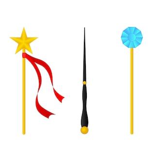 Magic wand set isolated on white background