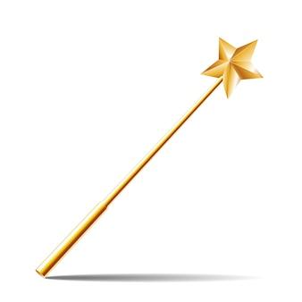 白い背景の上の金の星と魔法の杖。図