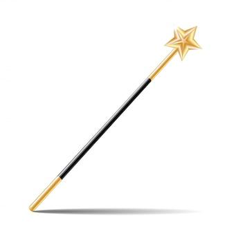 白い背景の上の金の星と魔法の杖。