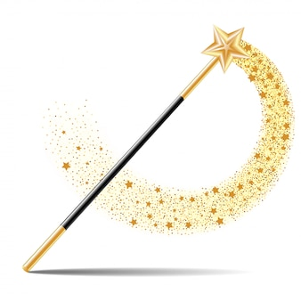 Magic wand with gold star with magical gold sparkle trail isolated