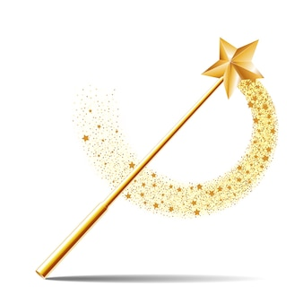 마법의 골드 스파클 트레일이있는 골드 스타가있는 마술 지팡이
