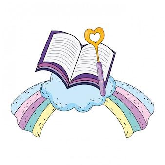 Magic wand with heart and rainbow