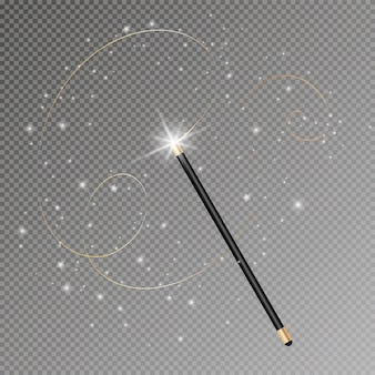 Magic wand with magical sparkle glitter trail