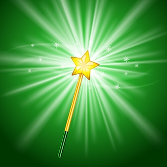 Magic wand with star on green background