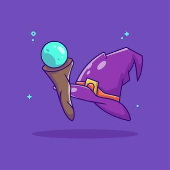 마녀 모자 만화와 마술 지팡이