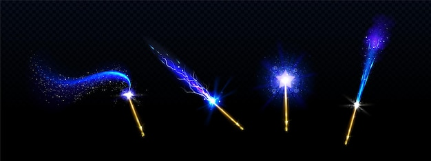 Magic wands with blue star and glowing sparkle trails